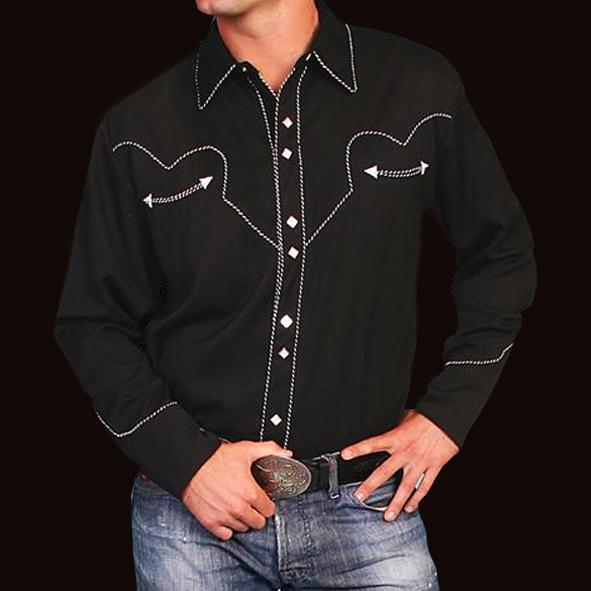 画像1: スカリー ウエスタン シャツ(長袖/ブラック)/Scully Long Sleeve Western Shirt