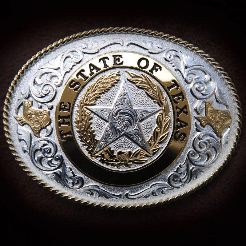画像1: モンタナシルバースミス ベルト バックル ザ ステイト オブ テキサス/Montana Silversmiths Belt Buckle Silver Star State TX