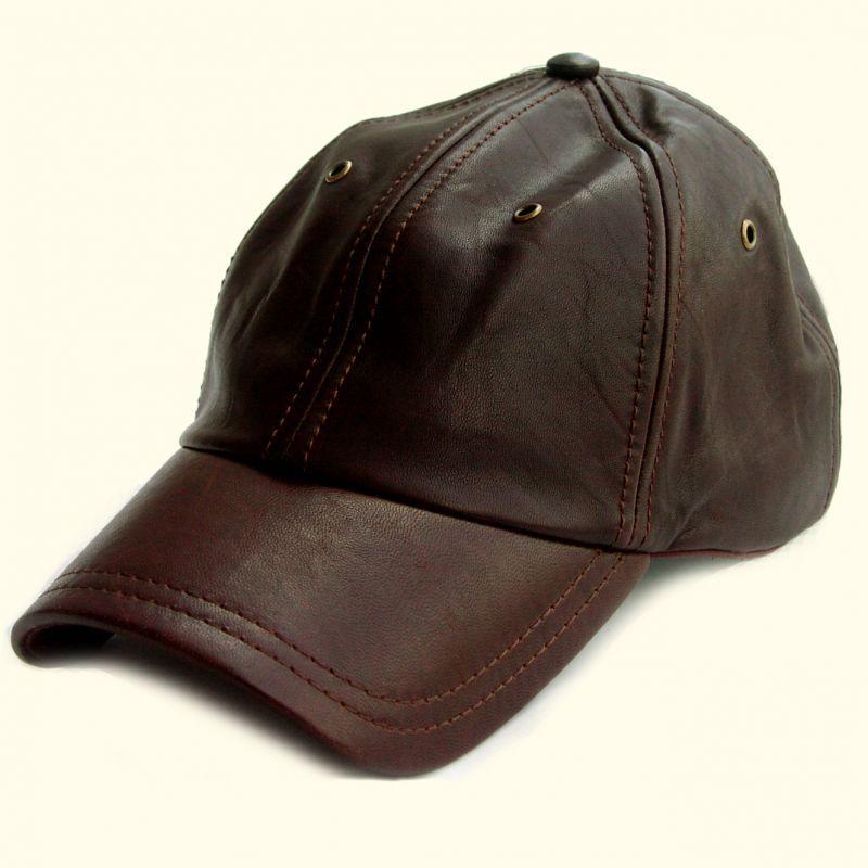 画像1: プレミアムレザーキャップ(ダークブラウン)/Leather Baseball Cap( Dark Brown) (1)