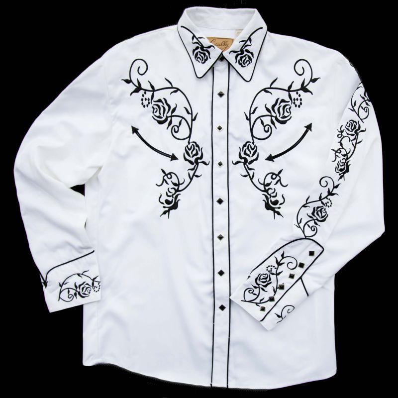 画像1: スカリー ウエスタン刺繍シャツ(長袖/ホワイト・ブラック)/Scully Long Sleeve Embroidered Western Shirt