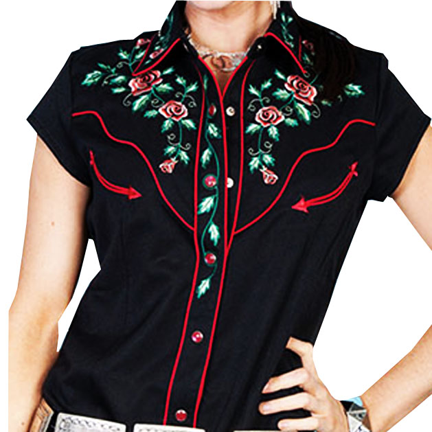 画像1: スカリー ウエスタン 刺繍 シャツ ブラック キャップスリーブXS/Scully Western Shirt(Women's) (1)