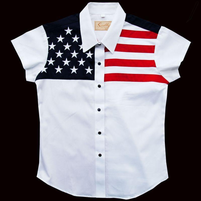 画像2: スカリー USA アメリカ国旗シャツ(キャップスリーブ/アメリカンフラッグ)/Scully Western Shirt(Women's)