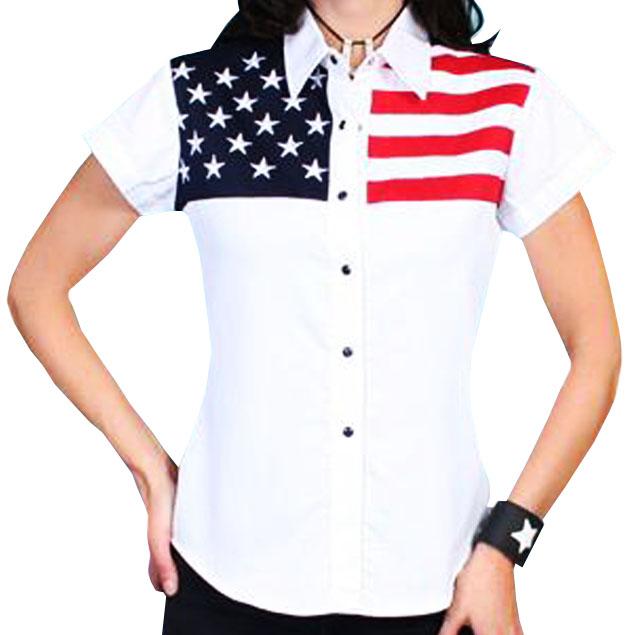 画像3: スカリー USA アメリカ国旗シャツ(キャップスリーブ/アメリカンフラッグ)/Scully Western Shirt(Women's)