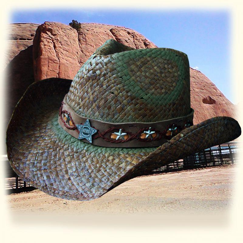 画像1: シェリフ コンチョ&スター ストローハット(オールドタイムブラウン)/Western Straw Hat (1)