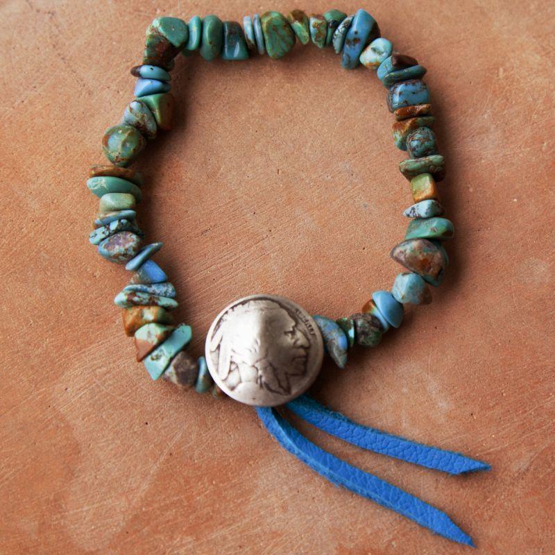 画像2: ターコイズ インディアン ブレスレット/Turquoise Bracelet