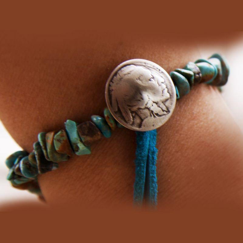 画像1: ターコイズ インディアン ブレスレット/Turquoise Bracelet