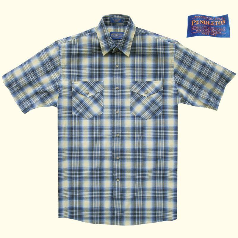 画像1: ペンドルトン半袖シャツ(ベイブルー&イエロー)/Pendleton Short Sleeve Tracker Shirt