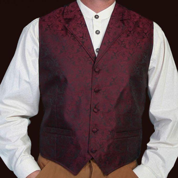 画像1: スカリー オールドウエスト ベスト(バーガンディー)/Scully Old West Vest (Paisley/Burgundy)