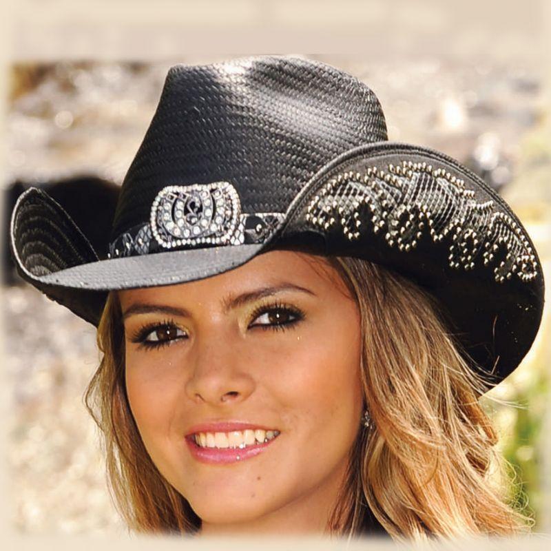 画像1: ブルハイド ウェスタン ストローハット(カウガールファンタジー・ブラック)/BULLHIDE Western Straw Hat Cowgirl Fantasy(Black) (1)