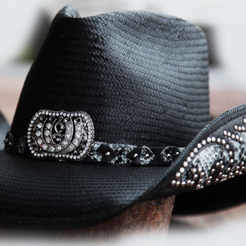 画像2: ブルハイド ウェスタン ストローハット(カウガールファンタジー・ブラック)/BULLHIDE Western Straw Hat Cowgirl Fantasy(Black)