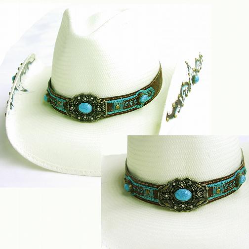 画像1: ブルハイド ウエスタン ストロー ハット スウィートセダクション(ターコイズ・ナチュラル)/Bullhide Western Straw Hat Sweet Seduction(Natural) (1)
