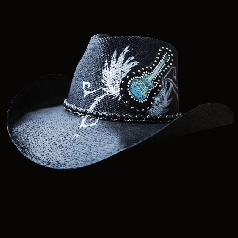 画像1: 光る ロックギター ウエスタンスタイル ストローハット/Western Straw Hat (Black) (1)