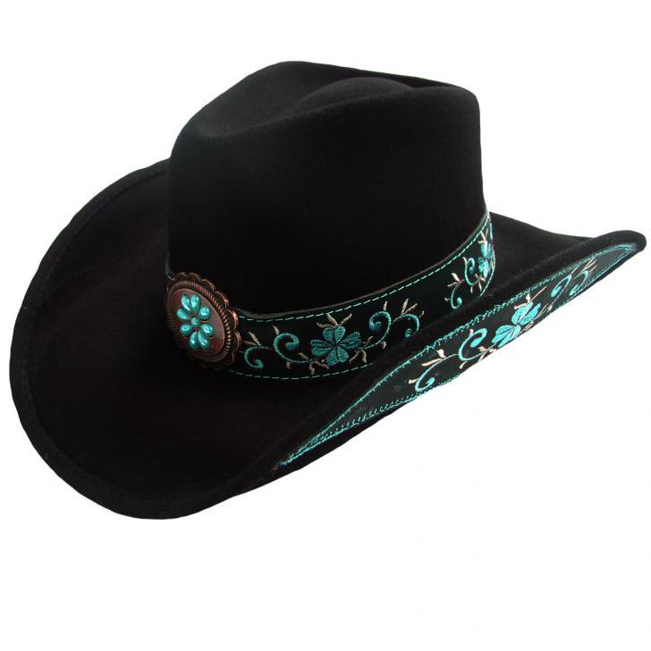 画像1: ブルハイド カウガール ウール ハット オールフォーグッド(レディース・ブラック)/Bullhide Wool Cowgirl Hat(All For Good/Black)