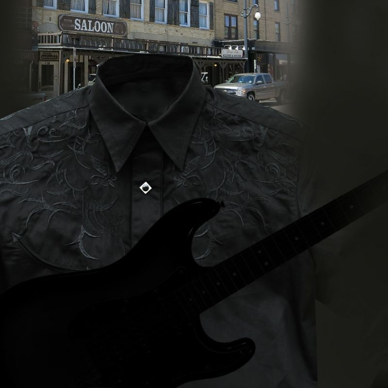 画像1: ウエスタン刺繍シャツ(長袖/ブラック・ブラック)/Long Sleeve Embroidered Western Shirt