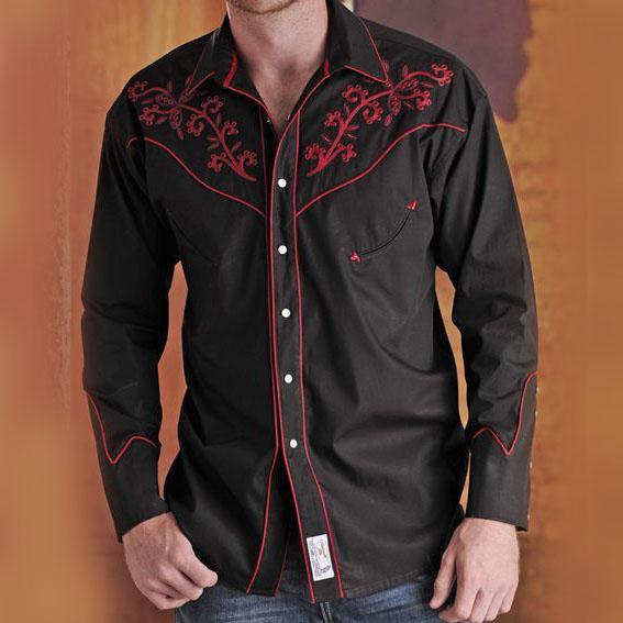 画像1: パンハンドルスリム ウエスタン 刺繍 シャツ(ブラック レッド/長袖)/Panhandle Slim Long Sleeve Western Shirt (1)