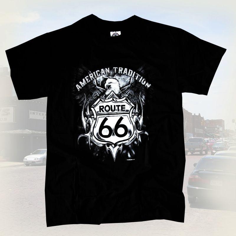 画像1: ルート66 半袖Tシャツ(ブラック・イーグル)/Route 66 T-shirt (1)
