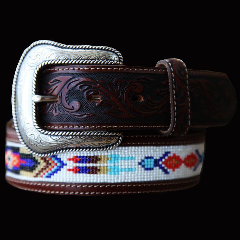 画像1: ジャスティン ビーズベルト(ブラウン)/Justin Pueblo Spirit Belt(Brown) (1)