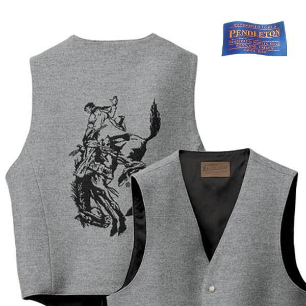 画像1: ペンドルトン ハイグレード ウエスタン ウールベスト(グレー)/Pendleton Round-Up Wool Vest(Gray mix) (1)