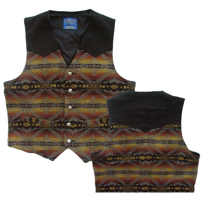 画像1: ペンドルトン ウエスタン ベスト(ブラック  サンドブラウン)/Pendleton Vest (1)