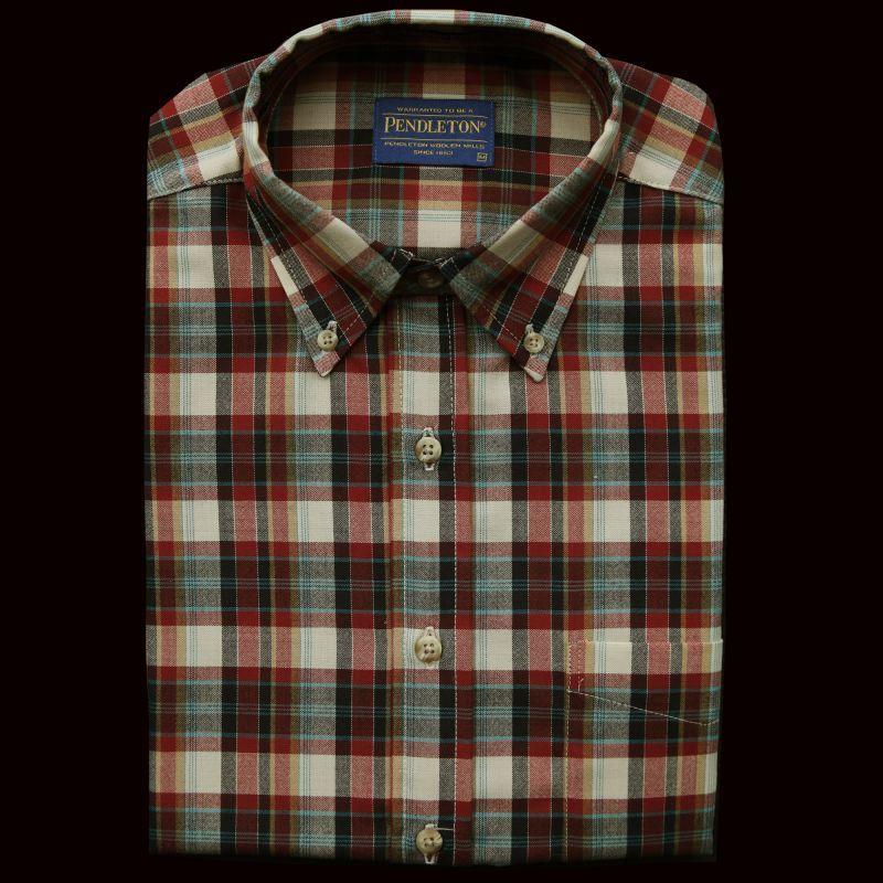 画像1: ペンドルトン サーペンドルトン ウールシャツ(タン・ネイビー・バーガンディー)XL/Pendleton Sir Pendleton Wool Shirt