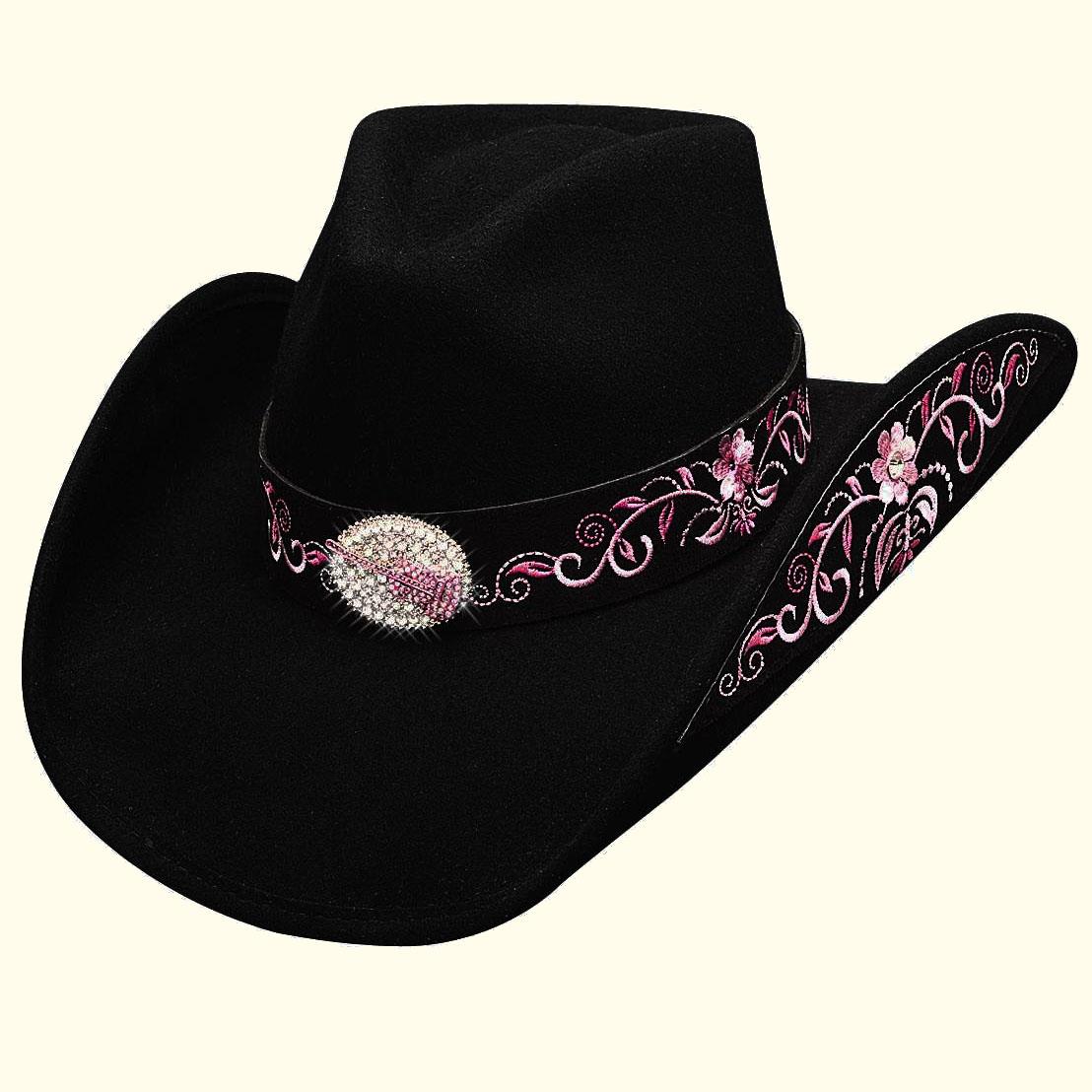 画像1: ブルハイド カウガール ウール ハット ロッキントゥザビート(レディース・ブラック)/Bullhide Wool Cowgirl Hat(Rockin' To The Beat)