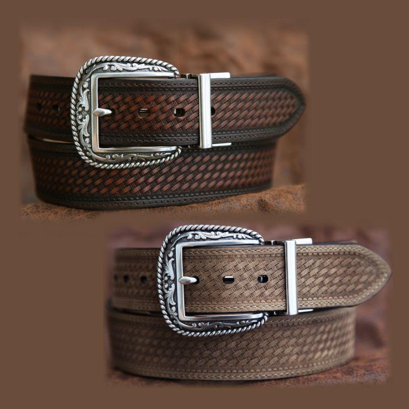 画像1: リバーシブル ウエスタン ベルト(ブラウン&ライトブラウン)/Western  Leather Belt (1)