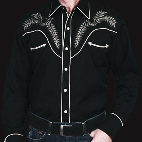 画像1: スカリー ウエスタン刺繍シャツ ブーツステッチ(長袖/ブラック・シルバーグレー)/Scully Long Sleeve Embroidered Western Shirt (1)