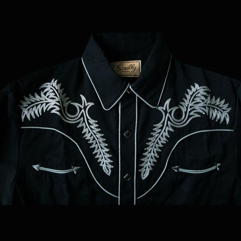 画像2: スカリー ウエスタン刺繍シャツ ブーツステッチ(長袖/ブラック・シルバーグレー)/Scully Long Sleeve Embroidered Western Shirt
