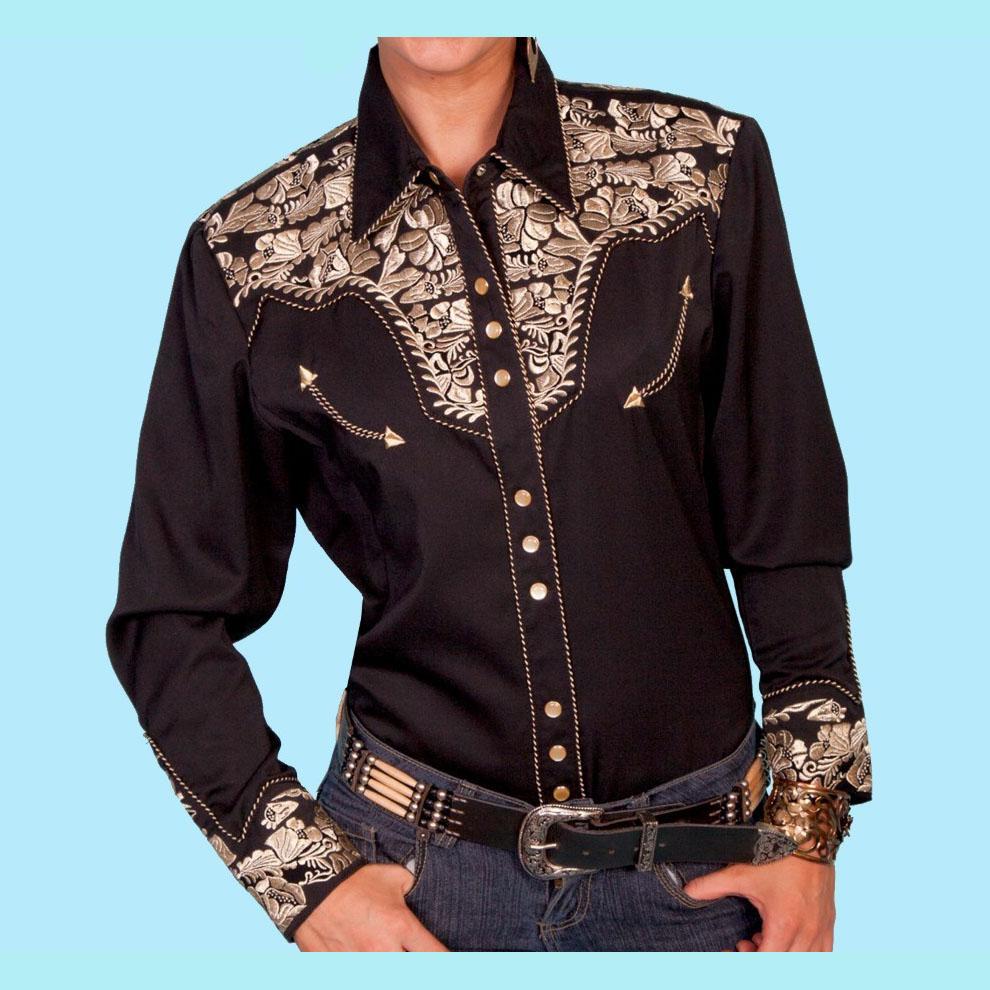 画像1: スカリー 刺繍 ウエスタン シャツ(長袖/ブラック・ゴールド)/Scully Long Sleeve Western Shirt(Women's) (1)
