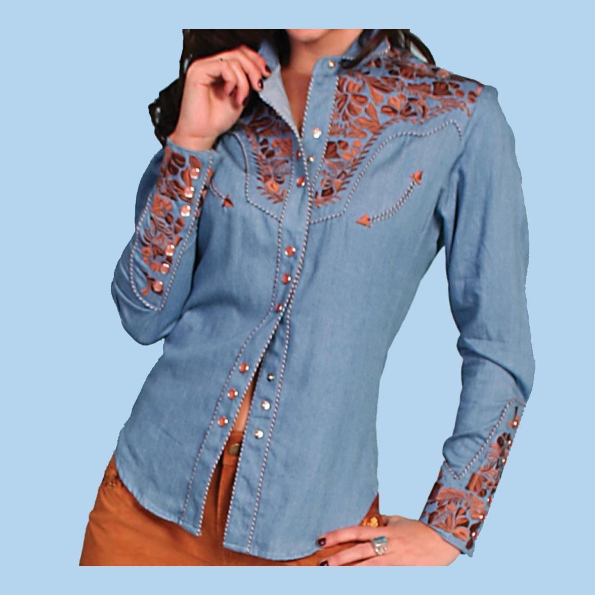 画像2: スカリー 刺繍 ウエスタン シャツ(長袖/ライトブルー)/Scully Long Sleeve Western Shirt(Women's)