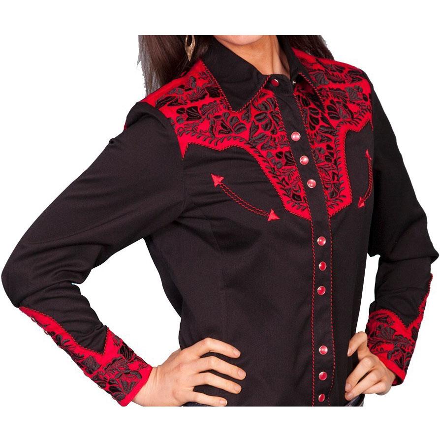 画像1: スカリー 刺繍 ウエスタン シャツ(長袖/ブラック・トマト)/Scully Long Sleeve Western Shirt(Women's) (1)