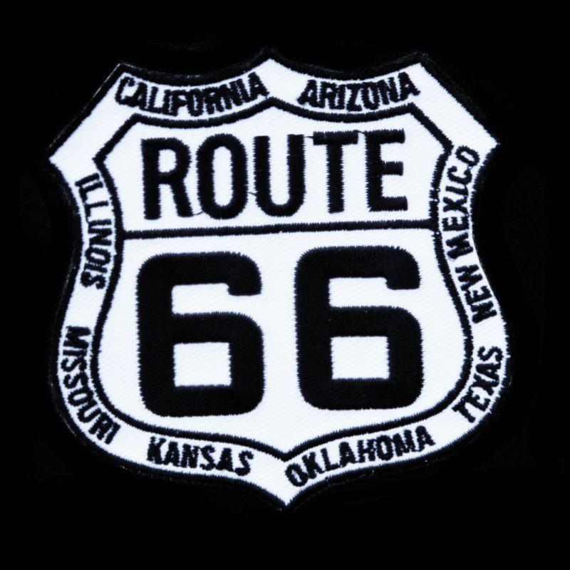 画像1: ワッペン ルート66 8州 ホワイト・ブラック/Patch Route 66