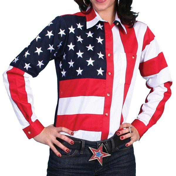 画像1: スカリー USA アメリカ国旗シャツ(長袖/アメリカンフラッグ)/Scully Western Shirt(Women's) (1)