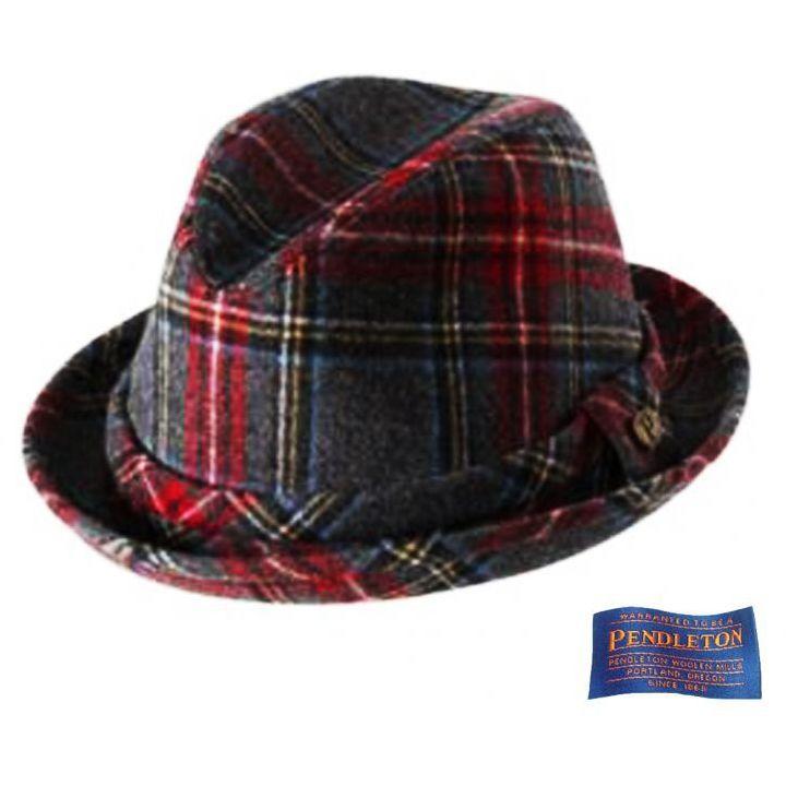 画像1: ペンドルトン バージン ウールハット(チャコールスチュワートタータン)/Pendleton Wool Hat Charcoal Stewart Tartan   (1)