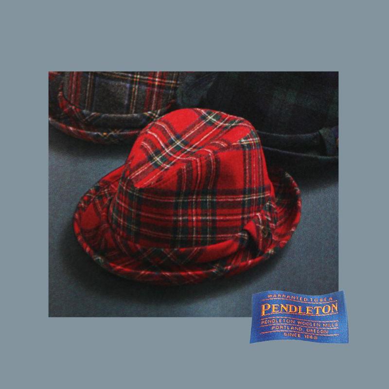 画像1: ペンドルトン バージン ウールハット(レッドスチュワートタータン)/Pendleton Wool Hat Red Stewart Tartan (1)