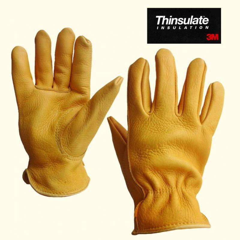 画像1: エルクスキン& シンサレート レザー グローブ(エルク鹿皮・タン)/Elkskin Leather Gloves-Thinsulate