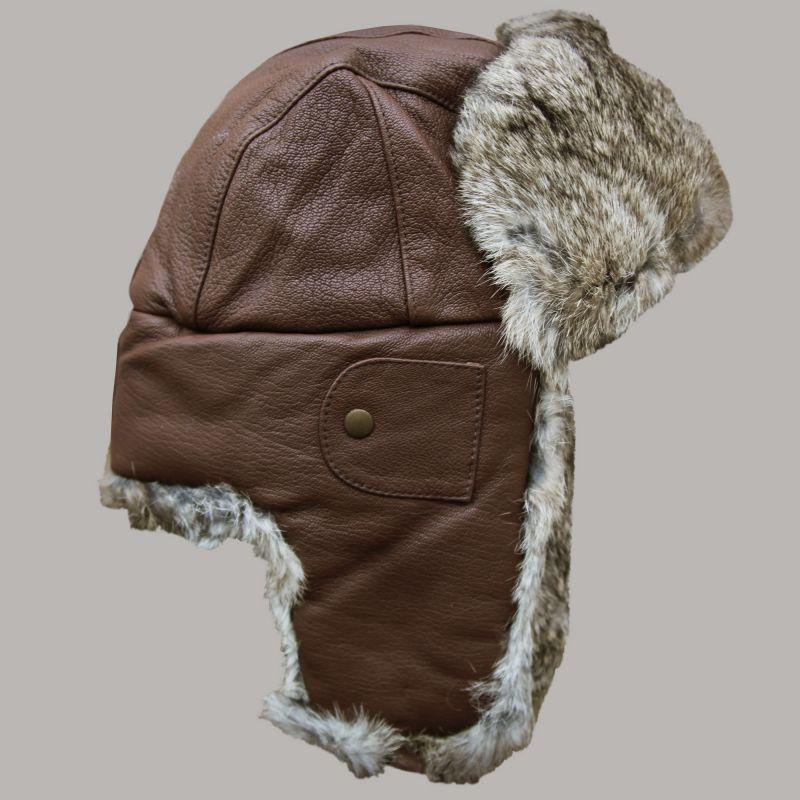 画像1: マッド ボンバー ハット 帽子(レザー&ラビット ファー ブラウン)/Mad Bomber Hat(Brown) (1)
