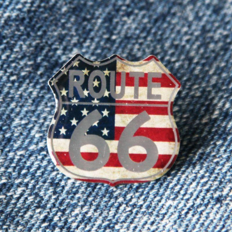 画像1: ルート66 ピンバッジ 星条旗/Pin Route66 (1)