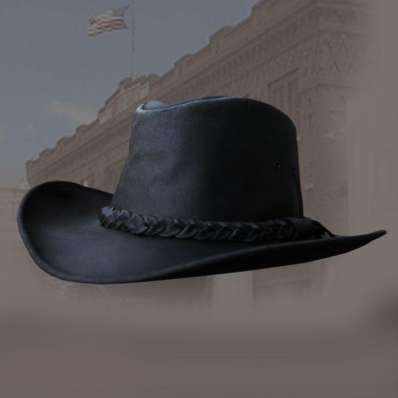 画像1: レザーバンド レザーハット(ブラック)/Leather Hat-Leather Band (Black) (1)