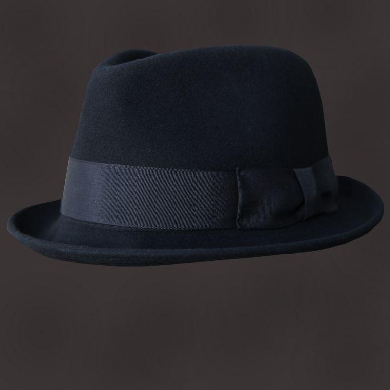 画像1: ウール フェドラ ハット(ブラック)/Wool Fedora Hat (Black)  (1)