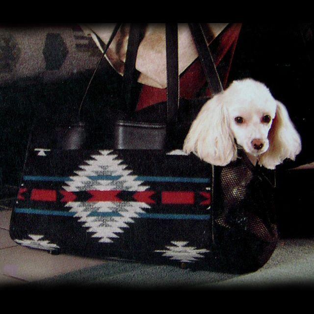 画像1: ペンドルトン・ウール・レザーペットキャリア(ブラックホワイト)/Pendleton Wool Leather Pet Carrier(Blk Wht) (1)