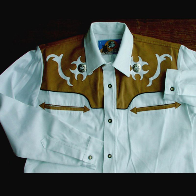 画像1: ロボライダースウエスタンシャツ・ホワイト/LOBO RIDERS'S Western shirt(White)