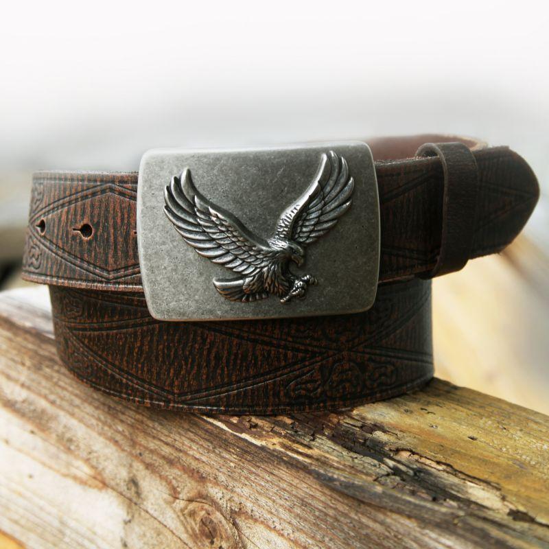 画像1: イーグル バックル レザー ベルト(ブラウン)/Leather Belt(Brown)