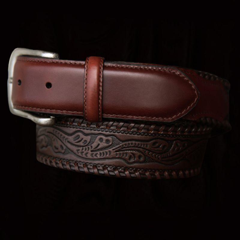 画像1: ウエスタン レザー ベルト(ブラウン)/Leather Belt(Brown) (1)