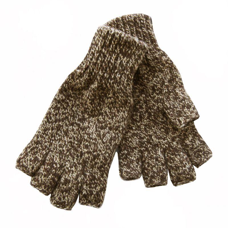 画像1: フィンガーレス ウールグローブ(ブラウン)/Fingerless Wool Gloves
