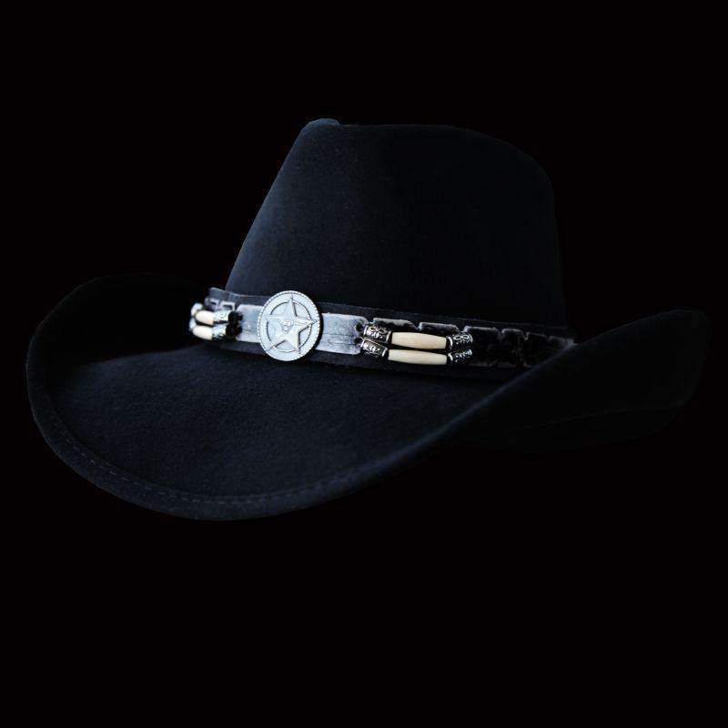 画像1: アリゾナカウボーイ ウールハット(ブラック)/Western Wool Hat