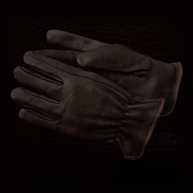 画像1: ディア スキン グローブ ブラウン(鹿皮 手袋 フリースライニング)/ Genuine Deer Leather Gloves (1)