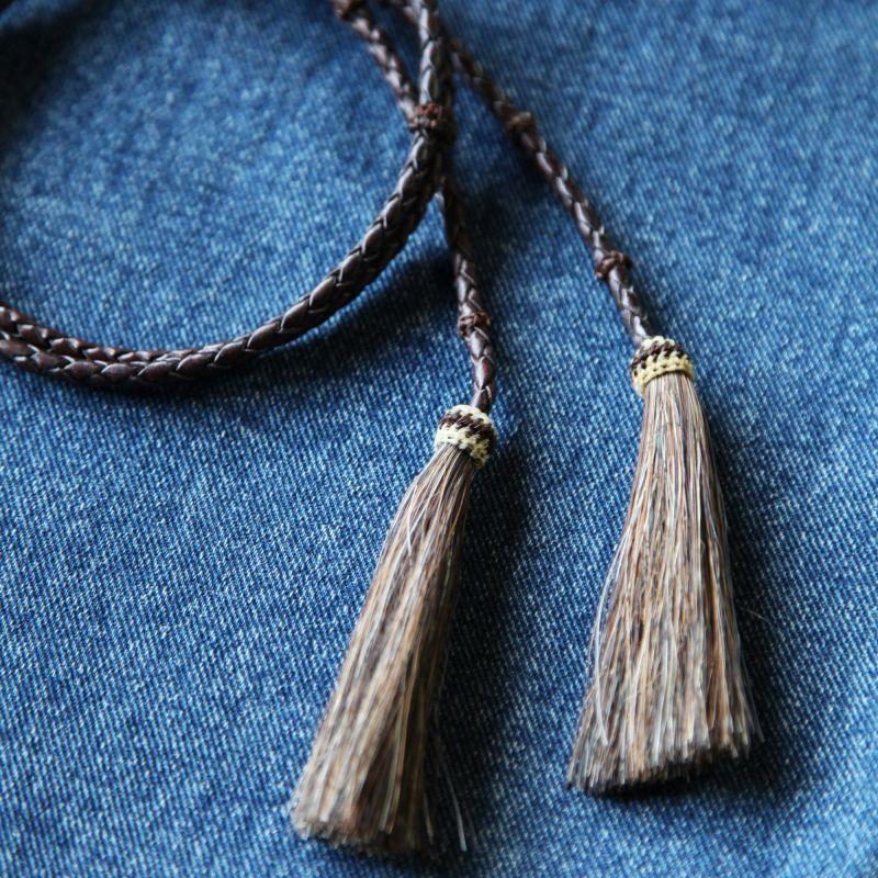 画像1: レザー ホースヘアー スタンピード ストリングス ブラウン・ブラウン(ハット用あごひも)/Leather w/horse Hair Stampede Strings (1)