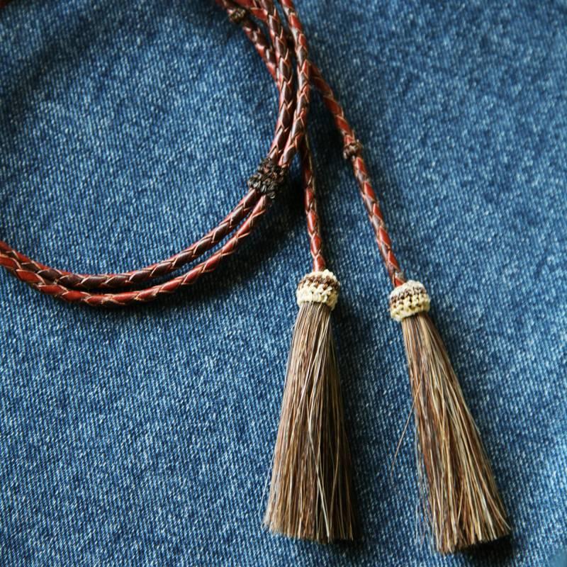画像1: レザー ホースヘアー スタンピード ストリングス ブラウン2色・ブラウン(ハット用あごひも)/Leather w/horse Hair Stampede Strings