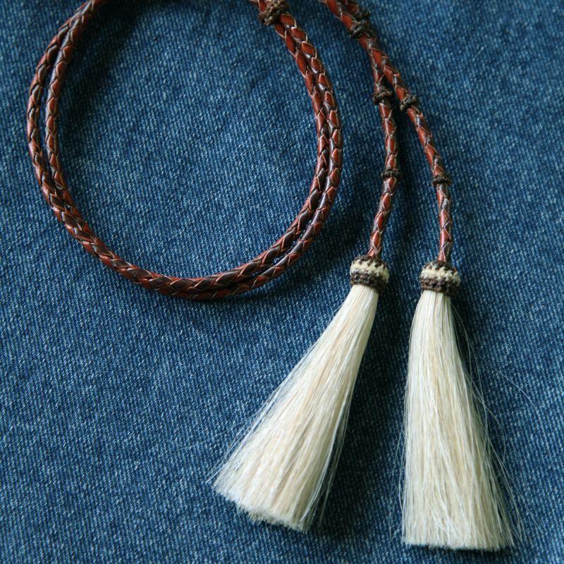 画像1: レザー ホースヘアー スタンピード ストリングス ブラウン2色・ナチュラル(ハット用あごひも)/Leather w/horse Hair Stampede Strings